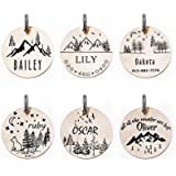 Mountain Peaks Deigned Collar ID Tags for Animals, Personalized, Custom Engraved