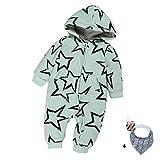 Morbuy Baby Warme Overall Strampler, Unisex Neugeborene Jungen Mädchen Schneeanzug Strampelanzugmit Kapuze Spielanzug Jumpsuit Winter Onesie Outfits (80, Sterngrün)