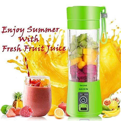 Piesome Rechargeable Portable Electric Mini USB Juicer Bottle Blender for Making Juice, Shake,Smoothies,Travel Juicer for Fruits and Vegetables for All Fruits (Green)