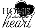 Wandtattoo-bilder® Wandtattoo Home is where your Heart is Nr 3 Wandsticker Wanddeko Farbe Hellbraun, Größe 70x58