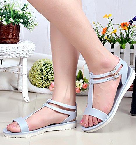 Minetom Femme Fille Été Plage Confortableable Chaussures Plastique Gelée Sandales Plat Couleur Unie Loisir D'extérieur Sandales Gris