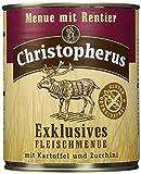 Christopherus Alleinfutter für Hunde, Nassfutter, Gluten- und getreidefrei, Rentier/ Kartoffel/ Zucchini, Exklusives Fleischmenü 800 g