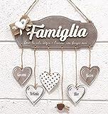 BPAPER Targhetta Famiglia con Fiocco in Juta e Cuore in Gesso - Misura 28 x 14 cm - Legno di Betulla