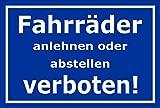 Melis Folienwerkstatt Schild - Fahrräder abstellen - 15x10cm | Bohrlöcher | 3mm Hartschaum – S00050-046-F -20 Varianten