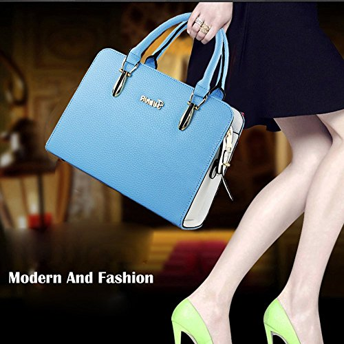 DELEY Donne Fascino Grande Capacità Top Handle Tote Handbag OL Tracolla Valigetta Borsa Borsetta Satchel Bag Blu