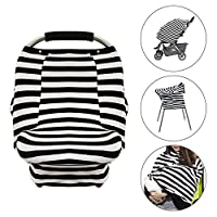 Baby Car Seat Cover - Uiter Infant Car Canopy Nursing Cover for Boys Girls, Snug Warm Breathable Windproof, Adjustable Peep Window, Insect free, Universal Fit (Stripe)