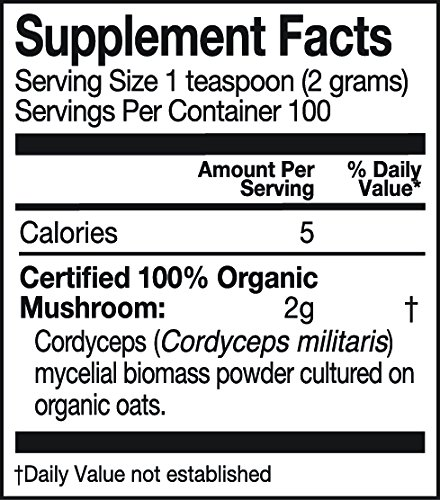 Mushroom Matrix Cordyceps Militaris Organic Powder, 7.14 Ounce