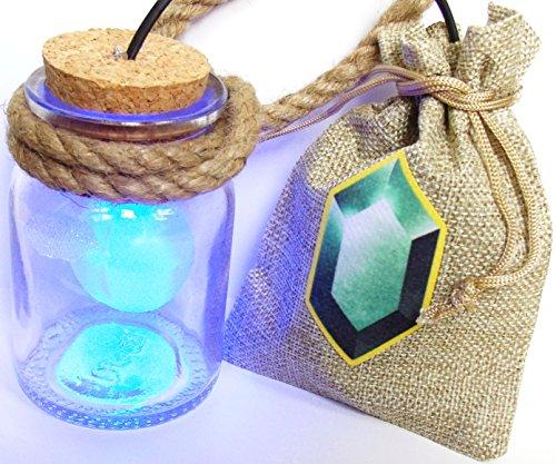 Preisvergleich Produktbild HEY LISTEN! Link Cosplay Navi Fee in Flasche mit LED BLAU und Rubinbeutel