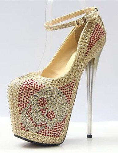 WSS 2016 Chaussures Femme-Habillé-Or-Talon Aiguille-Bout Arrondi-Talons-Similicuir golden-us8.5 / eu39 / uk6.5 / cn40