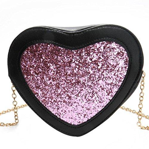 Designer-100% Baumwolle Tote (Malloom® Damenmode Herzförmige Pailletten Handtasche Schultertasche Kleine Tote Damen Geldbörse (rosa))