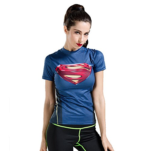 WCT19 Schmal geschnittene Frauen-Damen Compression-Shirt Spitze feste kurze Hülse für Fitness Outdoor Yoga Sexy Fashion Kostüm (Avengers Sexy Kostüme)