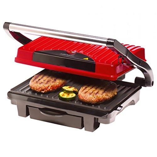 Bakaji Bistecchiera Elettrica Piastra Alluminio Antiaderente 1000W Toast, Grill e Panini Maker Dunlop