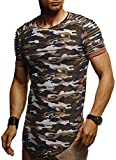LEIF NELSON Hommes Oversize T-Shirt Hoodie Biker-Style col Rond Encolure Manche Courte Longsleeve Top Basic Shirt Crew Neck Vintage Sweatshirt LN6325 S-XXL; Taille M, Camouflage