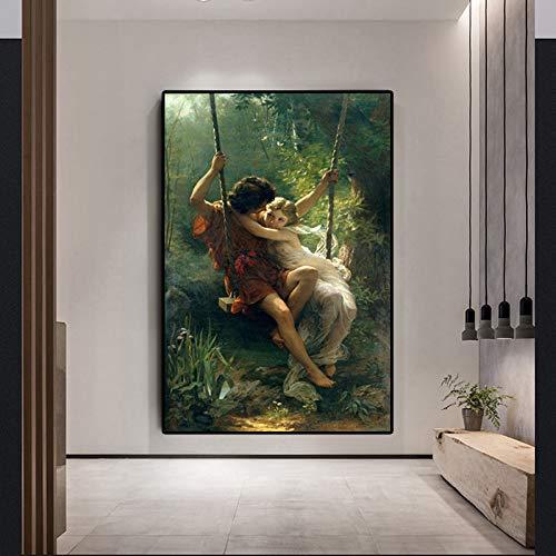 Frühling und Herbst Malerei Poster und Leinwand Berühmte Ölgemälde Reproduktion Wohnzimmer Wandbild Rahmenlose Malerei 40x60 cm