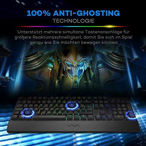 Mechanische Tastatur VAVA Gaming Tastatur 16.8 Millionen RGB Farben, Blaue Switsches, 100% Anti-Ghosting, 104 Tasten Robuste UV-Beschichtung, Ergonomisches Design, Deutsches Layout QWERTZ - 5