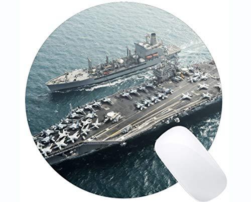 Runde Mausunterlage mit genähtem Rand, Flugzeugträger Marine USS Harry S. Truman King-Größe Computer PC Runde Mauspad - Runde Marine Teppich