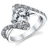 1.50 Karat Damen Sterling Silber 925 Verlobungsring, Ehering Mit Zirkonia Bequemlichkeit Passen,Größe 52