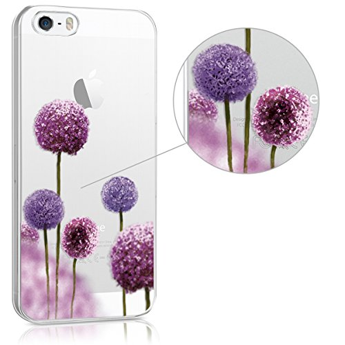 kwmobile Hülle für Apple iPhone SE / 5 / 5S - TPU Silikon Backcover Case Handy Schutzhülle - Cover klar Blume Kugel Design Pink Violett Transparent Blume Kugel Pink Violett Transparent