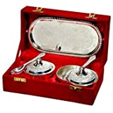 International Gift German Silver Bowl With Tray And Spoon (Set Of 5 Piece) With Beautiful Velvet Box Packing Exclusive Gift For Diwali Gift Items And Wedding Gift Items
