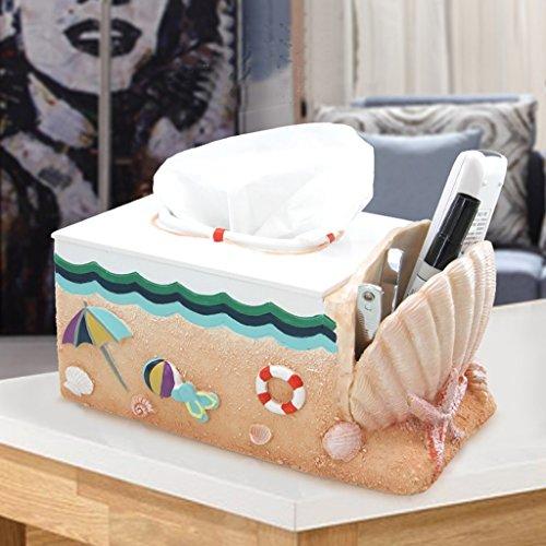 HR Serviettenhalter Europäische Tissue Box Kreative Wohnzimmer Fach Mode Wasserdicht Harz Home Roll Tray Papiertuch Rohr (Strand Box Cover Tissue)