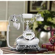 25 * 22 * 27 cm resina creative blanco perla plata plateado antiguos teléfonos poner vidrio roto en un decoraciones de teléfono fijo de oficina antiguo