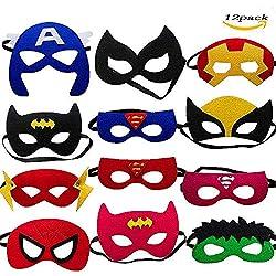 LMYTech 12 Piezas Máscaras de Superhéroe Máscara para Niños / Fieltro Máscaras / Cuerda Elástica Niños Mayores de 3 Años / Fiesta para Niños Juguete de Regalo