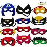LMYTech 12 Stück Superhelden Masken Superheld Cosplay Party Augenmasken/Filz Masken Masken/Weihnachten Maske/Elastischen Seil/Perfekt für Kinder im Alter von 3 +