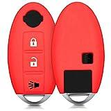 kwmobile Cover in silicone per chiave Nissan con 3 tasti Protezione per chiave auto - Guscio protettivo chiavi Key Cover rosso