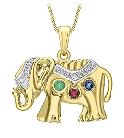 Carissima Gold 9 ct Yellow Gold Diamond, Sapphire, Emerald and Ruby Elephant Pendant on Chain Necklace of 46 cm/18