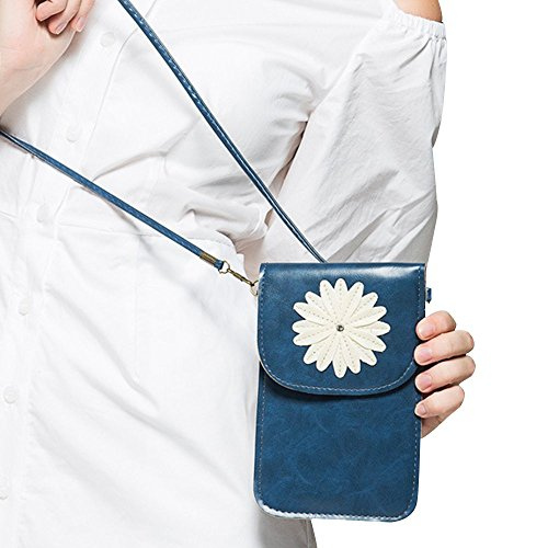 Contever® Retro Chrysantheme-Muster Handy-Beutel Tasche mit Berührungssensitiver Bildschirm für Telefon Unter 6 Zoll PU Leder Schultertasche / Umhängetasche Damen -- Blau