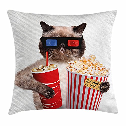 Pillow hats Kino Decor Werfen Kissenbezug, von, Katze mit Popcorn und Trinken ansehen von Film Gläser Entertainment Cinema, Dekorative Quadratisch Accent Kissen Fall, 45,7 x 45,7 cm, Multicolor -