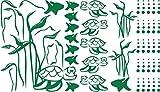 Graz Design Wandtattoo Badezimmer Schildkröten Algen Fische   maritimes Set Bad-Tattoo für Fliesen - Wände - Tür (99x57cm//061 grün)