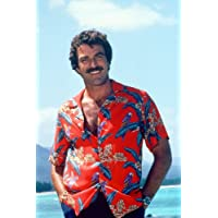 Magnum, P.I. Tom Selleck in classic red Hawaiian Shirt 24x36inch (60x91cm) Poster
