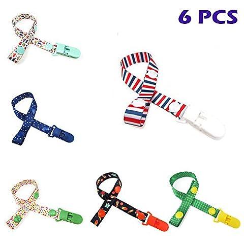 6 pcs Goldore Baby Bouton fixe Ajuster la longueur Pacifier Chain Clip Infant Déposez résistant Buckle Strap