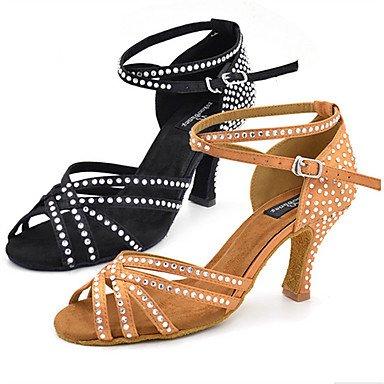 Scarpe da ballo-Personalizzabile-Da donna-Balli latino-americani Jazz Salsa Scarpe da swing-Tacco su misura-Finta pelle-Nero Kaki Black