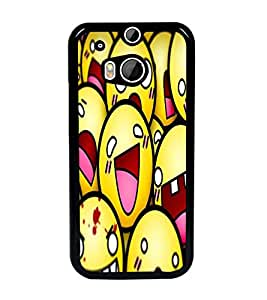 PrintDhaba Smileies D-5602 Back Case Cover for HTC ONE M8s (Multi-Coloured)
