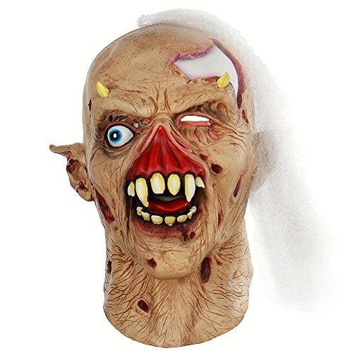 Wongfon Latex Zombie Gesicht Hals Maske Horror Requisiten Halloween Maskerade Party Kostüm Kostüme