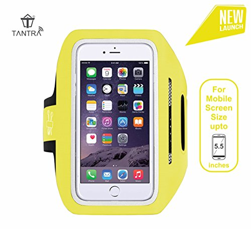 TANTRA Enhandz White ArmBand Adjustable Sports Running,Anti-slip Ultra Light Weight Armband Mobile Holder(Screen size upto 5.5 inches like iphone 6,6S,7plus & Samsung galaxy Edge S6,S7) (Size: 5.5 Inches) (Yellow)
