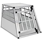 EUGAD Transportín de Aluminio para Perros Gatos Mascotas Jaula Transporte de Viaje para Mascotas Trapezoidal 1 Puerta Blanco0052HT