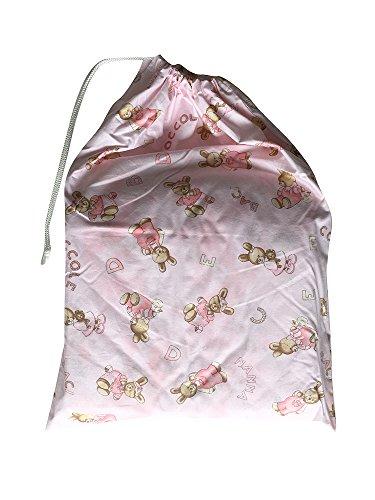 Sacchetto asilo - coniglietti coccole rosa - 46x60 cm porta indumenti e cambio bimbo