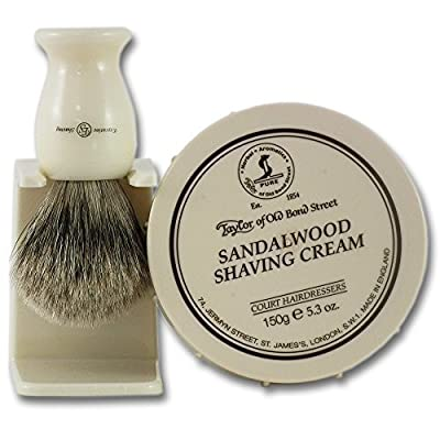 Taylors Sandalwood Shaving Cream 150g Tub and Synthetic Shaving Brush Set