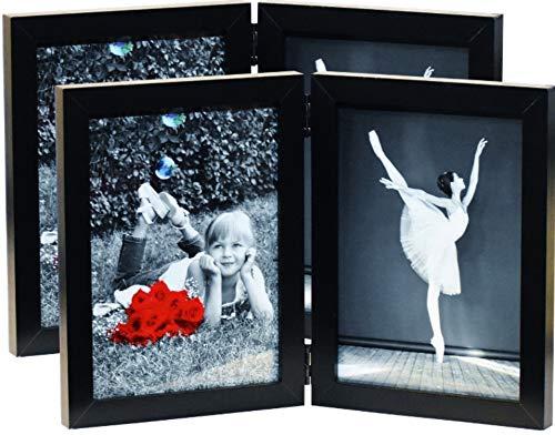 (2er Pack) 12,7x 17,8cm aufklappbaren Dual Bild Holz Foto-Rahmen mit Glas Front-Made To Display Zwei 12,7x 17,8cm Zoll Collage Bilder, doppelte Rahmen steht Vertikal auf Desktop oder Tisch Top -