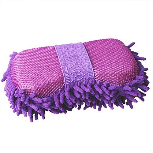 Bluelover guanti di lavaggio elastici ciniglia magici panno di spugna pulito che lava gli strumenti di pulizia della finestra dell'automobile di automobile - porpora