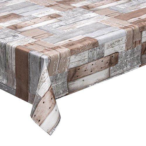 haga-wohnideen 1,4m² Wachstuchtischdecke Patchwood grau-braun Schutzdecke abwaschbar in 140cm Breite (Meterware)