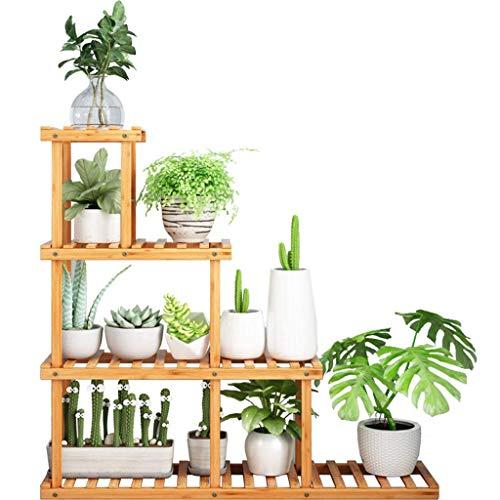 OHHG Aufbewahrungsregale Bambus Bonsai Rack Blumenregal Pflanze Boden Stehen 4 Tier Einheit Regale Kräutertopf Halter Fest Unterstützung für Garten Innenhof - 4-tier-rack-einheiten