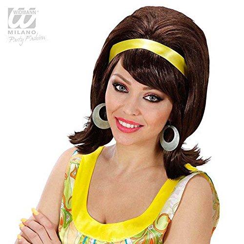 60er Jahre Damen-Perücke toupiert braun (Sixties Ideen Outfits)