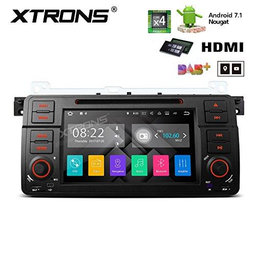 XTRONS® HDMI Android 7.1Quad Core 17,8cm HD Digital Touchscreen Autoradio DVD Player GPS für BMW E46/320/325Rover 75MG ZT (Doppel-einheit-box)