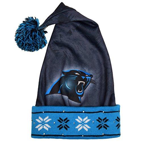 NFL Carolina Panthers Light Up bedruckt Santa Hat, One Size, Blau (Santa Light Up Hat)