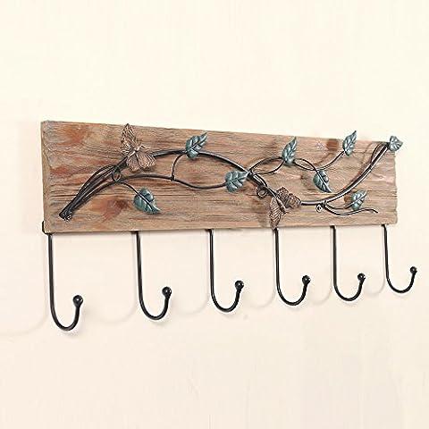 ERRU Gancho / gancho de la toalla / sombrero Ganchos / sólido gancho de madera / ganchillo Artista / Puerta ganchos / llavero del gancho decorativo de hierro en / gancho de la pared creativa ( Color : A )