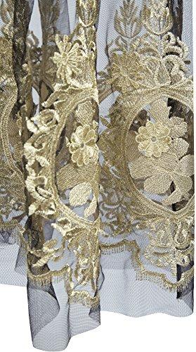 Angel-fashions Femme Bretelles broderie dentelle See-through lacent robe noire Noir